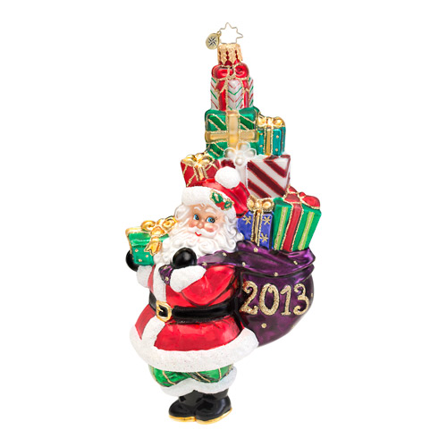A Holly Jolly Year 2013 Dated Santa  (retired) Radko Ornament