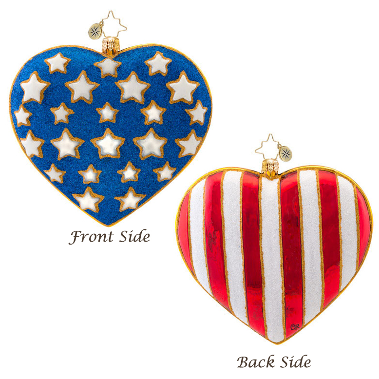 America Full Of Heart Patriotic  (retired) Radko Ornament