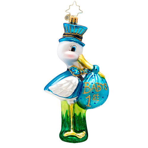 Blue Special Delivery Baby's First  Dated 2014 (retired) Radko Ornament