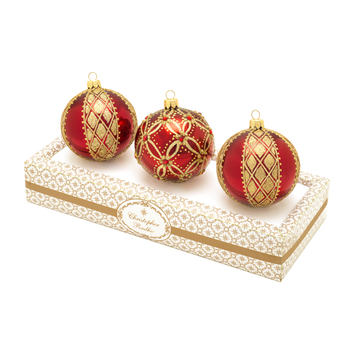 Burgundy With Gold Boxed Glass Ornaments Set (retired) Radko Ornament