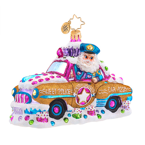 Candy Cop Cruiser Radko Ornament