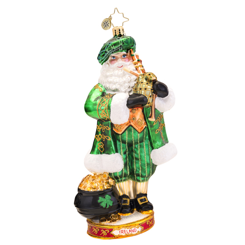 Celtic Pride Ireland Santa Ornament (retired) Radko Ornament
