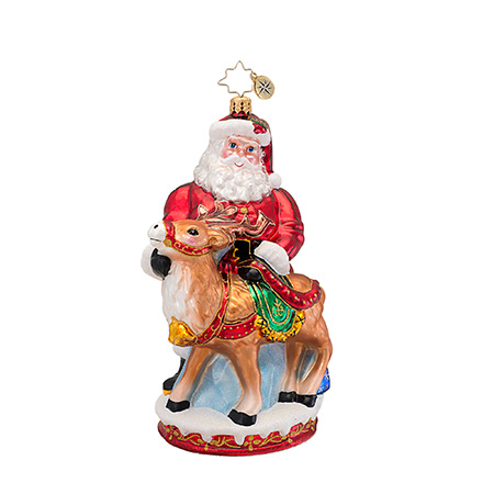 Deer Friends Santa And Reindeer  (retired) Radko Ornament