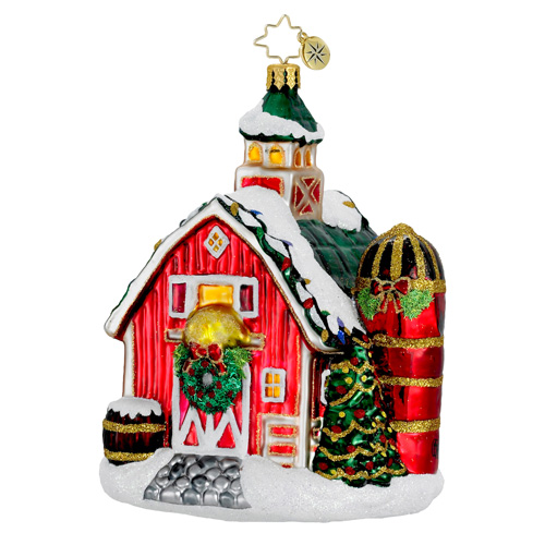 Festive Farm Barn  (retired) Radko Ornament