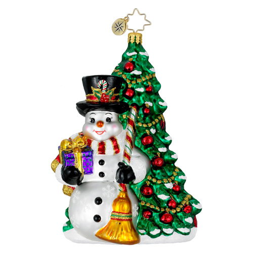 Fir & Frosty Snowman Christmas Tree Ornament (retired) Radko Ornament