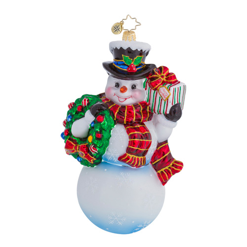 Frosty Offer Snowman  (retired) Radko Ornament