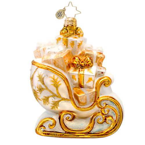 Golden Frost Sleighride  (retired) Radko Ornament