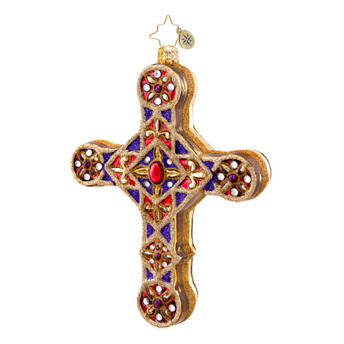 Golden Scrolls Cross  (retired) Radko Ornament