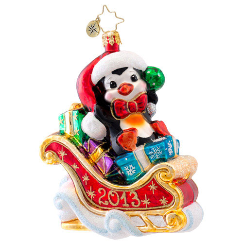 Hold On Charlie! 2013 Dated  (retired) Radko Ornament