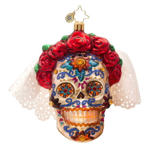 La Senora Skull Ornament Radko Ornament