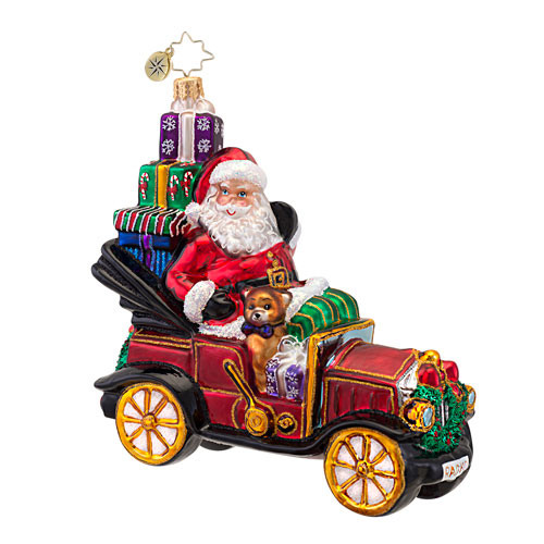 Little Red Roadster Santa Car  (retired) Radko Ornament