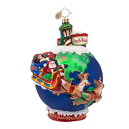 Midnight Trip Santa  (retired) Radko Ornament