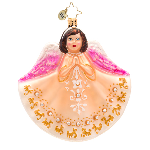 Petite Prayers Angel Ornament - Brown Hair Radko Ornament