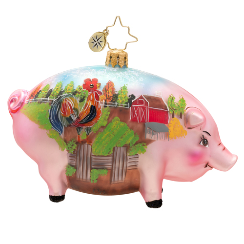 Postcard From The Farm Pig  (retired) Radko Ornament