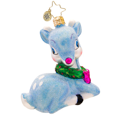 Precious Blue Baby Deer Pink  (retired) Radko Ornament