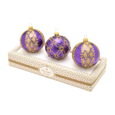 Purple With Gold Boxed Glass Ornaments Set (retired) Radko Ornament