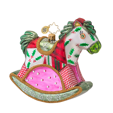 Quilty Quentin Rocking Horse  (retired) Radko Ornament