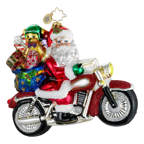 Rebel With A Claus Motorcyle  (retired) Radko Ornament