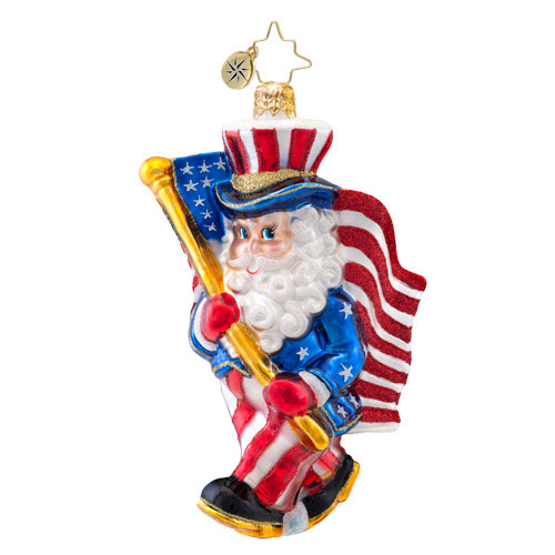 Red White And Yule Patriotic Santa  (retired) Radko Ornament