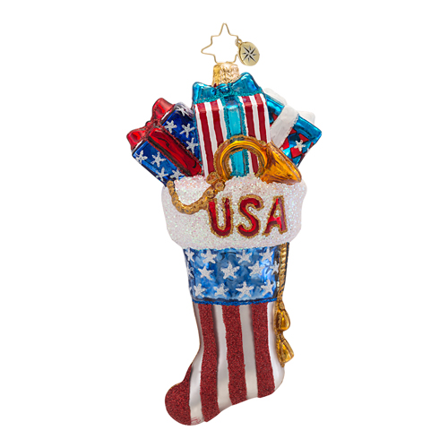Red, Wrapped And Blue Patriotic  (retired) Radko Ornament