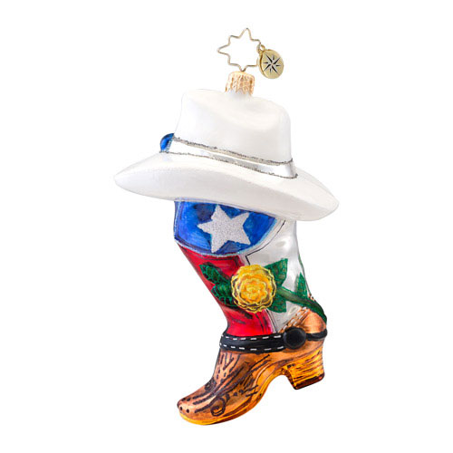 Rodeo Rose Cowboy Boot Radko Ornament