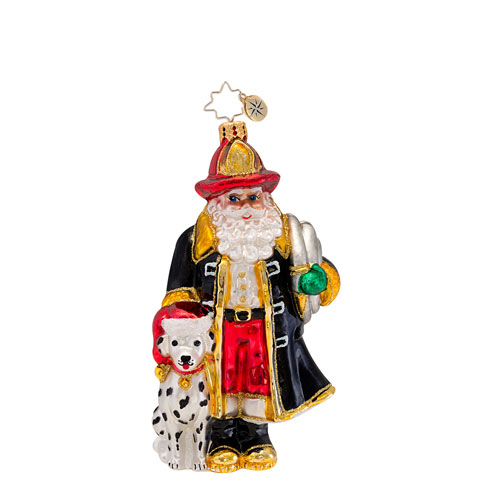 Santa To The Rescue Fireman  (retired) Radko Ornament