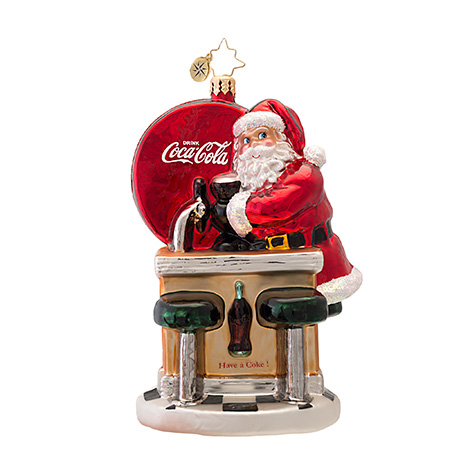 Santa's Coke Break  (retired) Radko Ornament