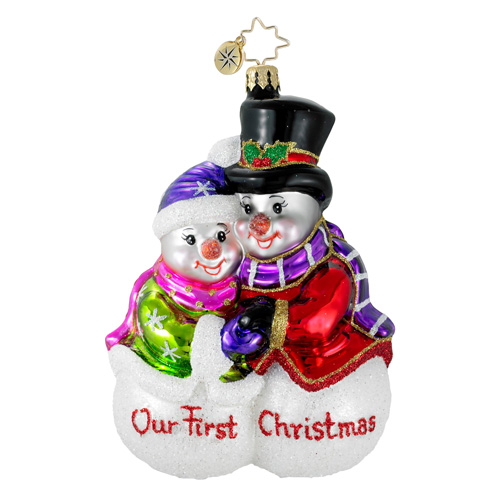 Sharing The Warmth First Christmas Snowman Ornament (retired) Radko Ornament