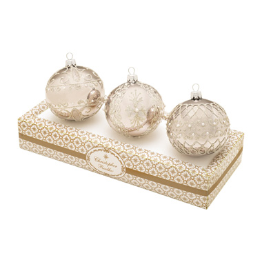 Silver Boxed Glass Ornaments Set (retired) Radko Ornament