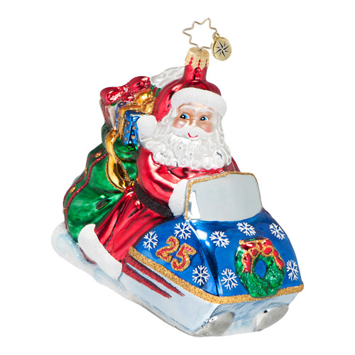 Speedy Delivery Snowmobile Santa  (retired) Radko Ornament