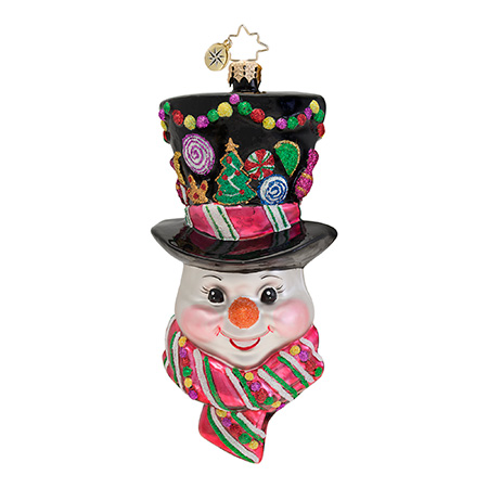 Sugared Chapeu Snowman  (retired) Radko Ornament