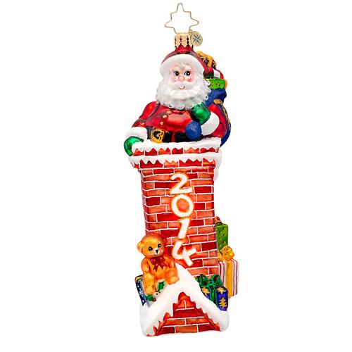 Tight Fit 2014 Dated Santa  (retired) Radko Ornament